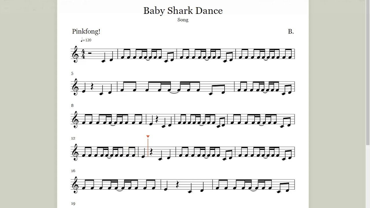 baby shark sheet music pdf