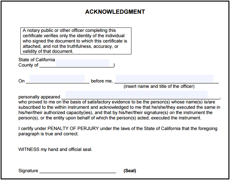 certificate of acknowledgement sample