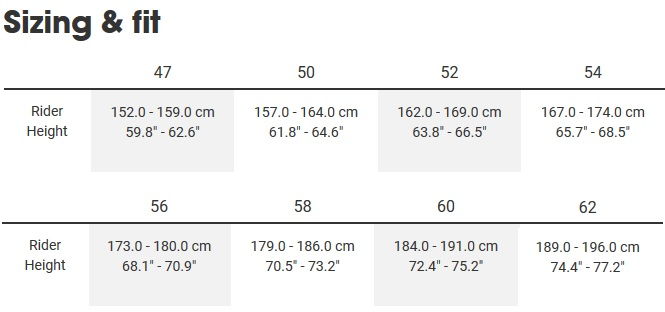 bike size guide road