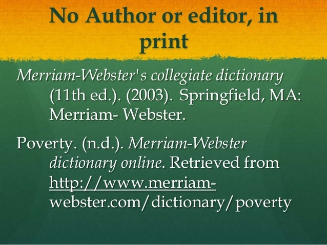 apa referencing the online dictionary