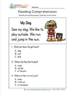 1st grade reading comprehension worksheets multiple choice pdf