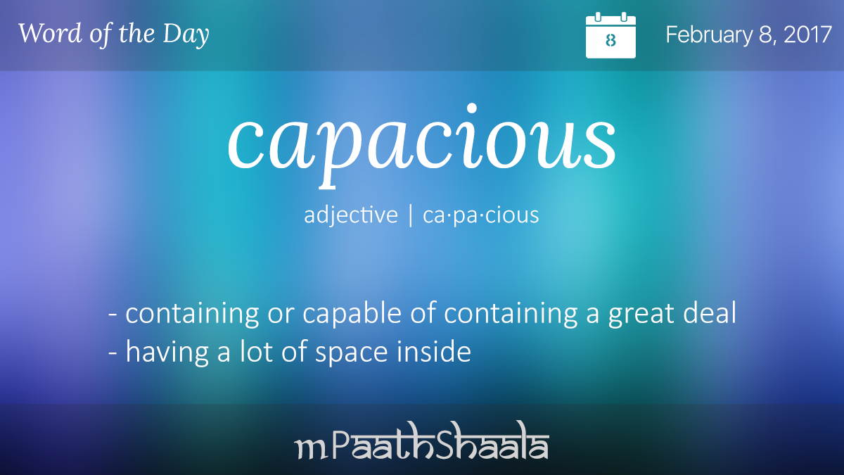 capacious definition dictionary