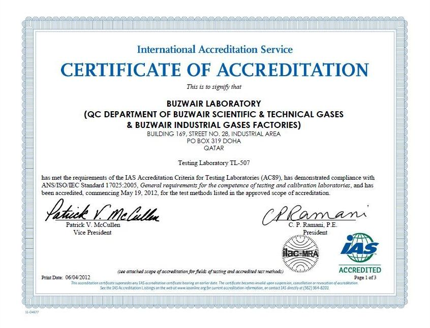 accreditation certificate sample