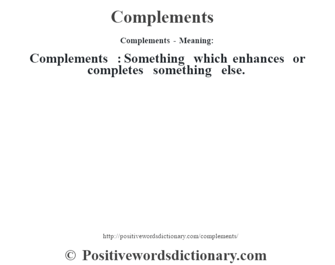 complement meaning in tamil dictionary