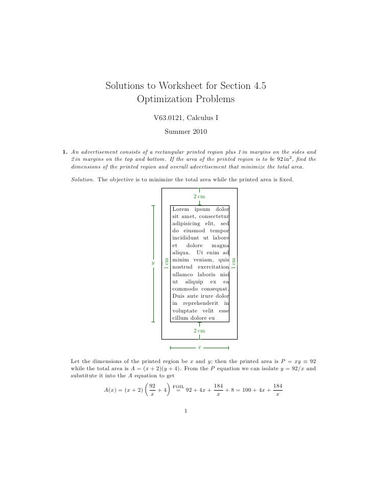 calculus optimization problems and solutions pdf