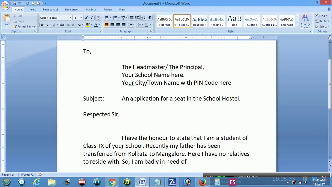 application for accommodation format