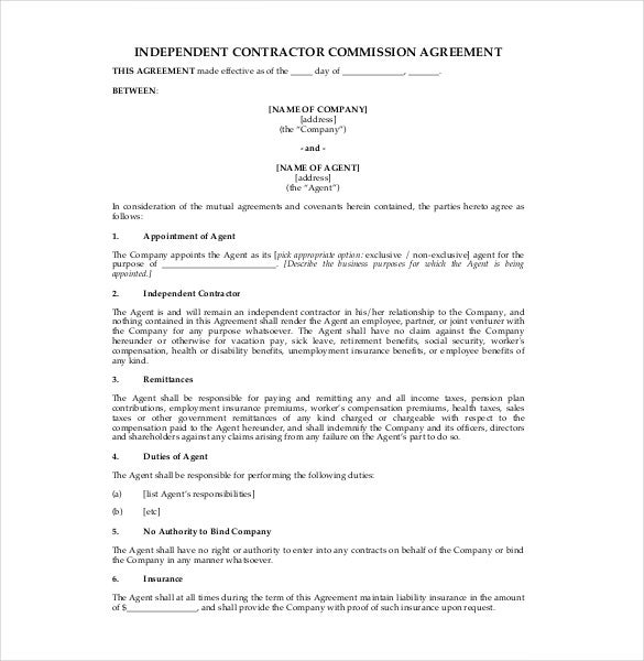 commission agreement sample free