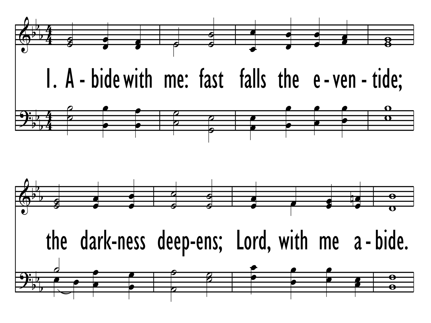 abide with me fast falls the even tide chords pdf