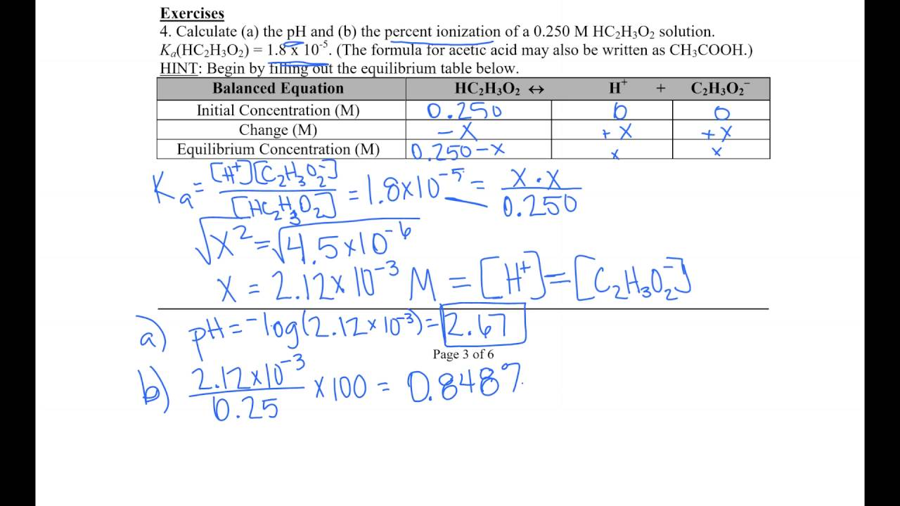 acid base equilibrium worksheet pdf