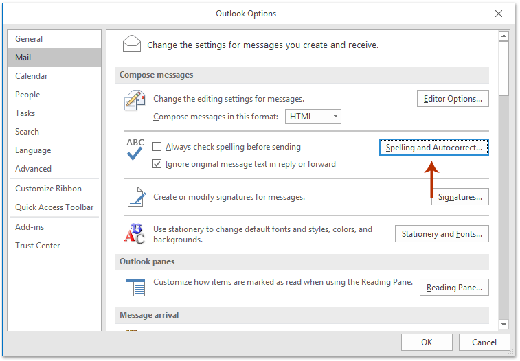 change dictionary in outlook