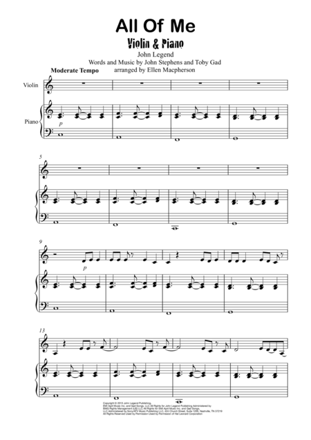 all of me on piano sheet music pdf