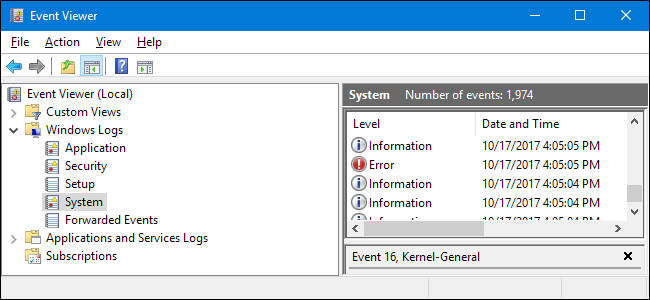 application and services logs windows 10
