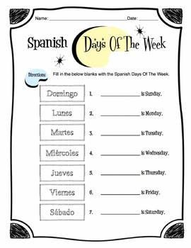 days of the week in spanish pdf