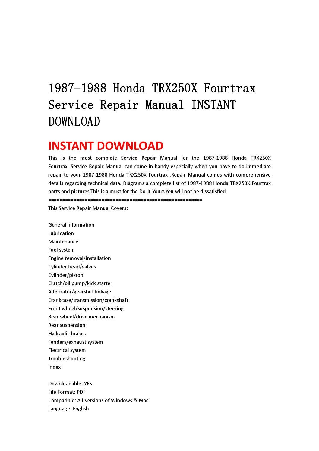 1987 honda trx 350 service manual