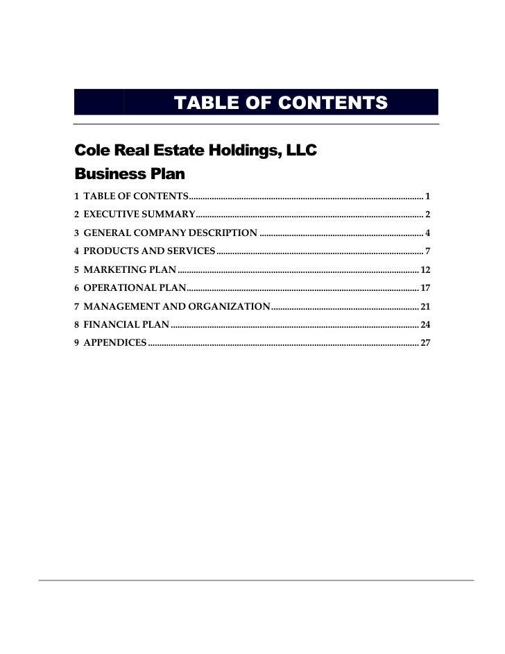 contents of a business plan pdf