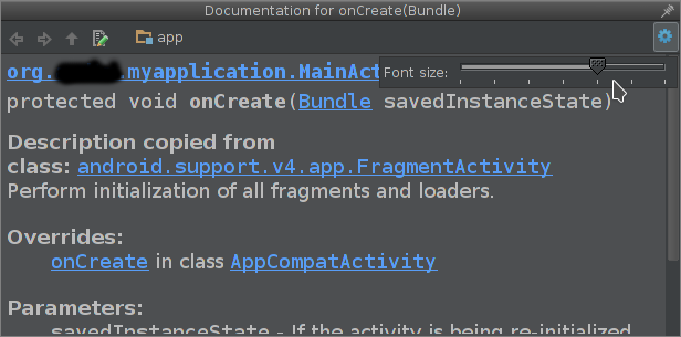 android studio open documentation window