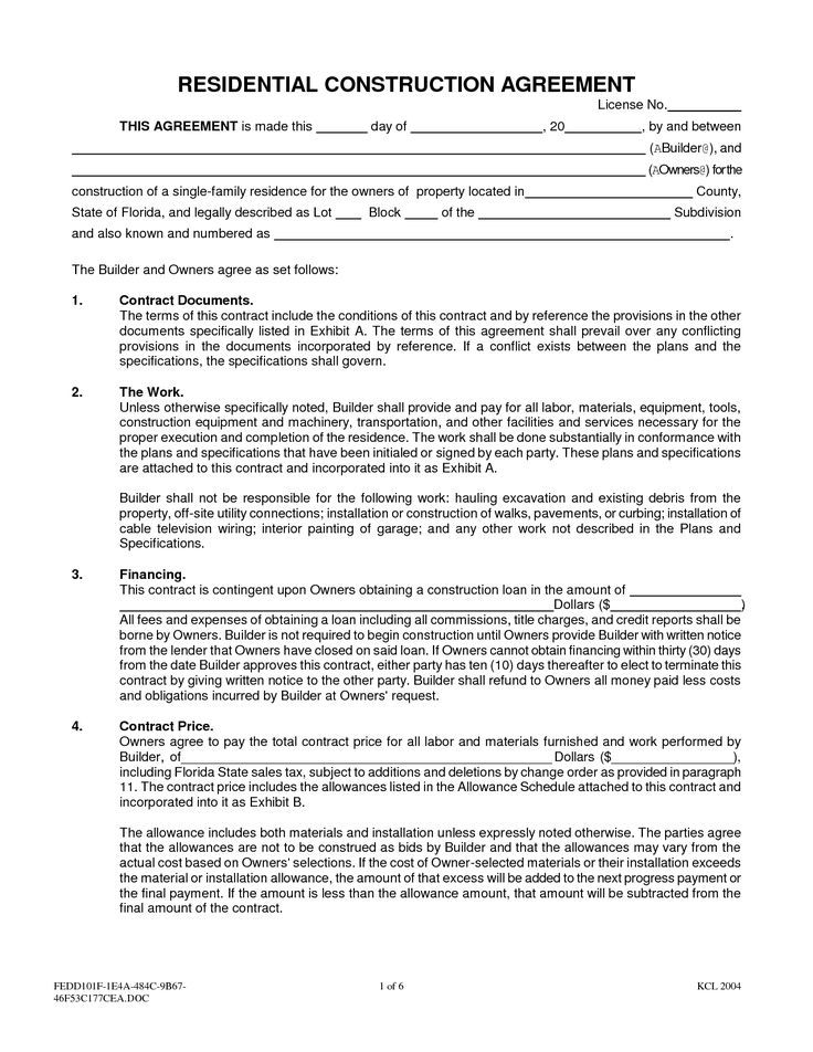 contract agreement sample new home construction
