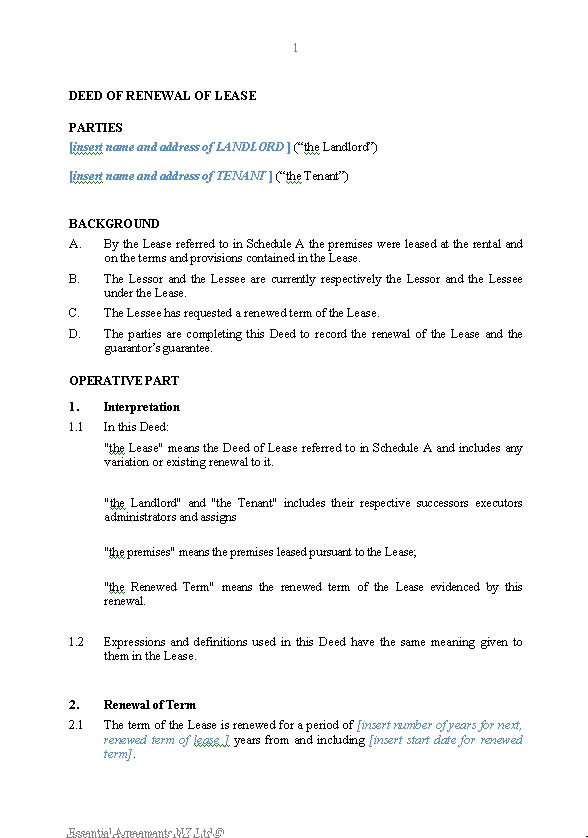 agreement guide nz
