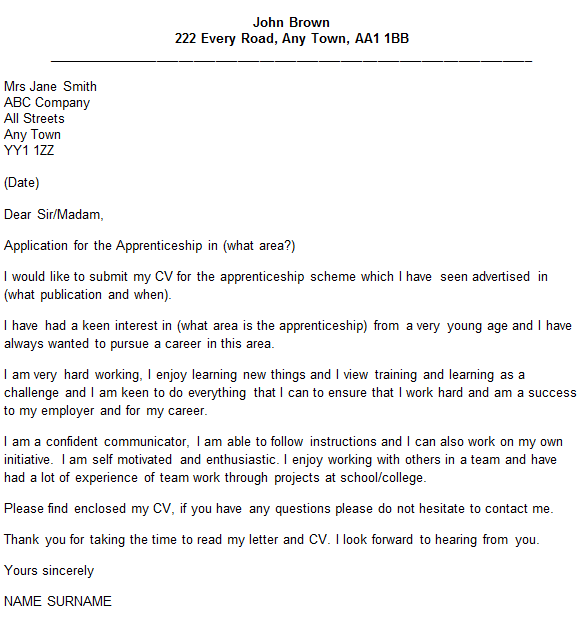 apprenticeship letter sample
