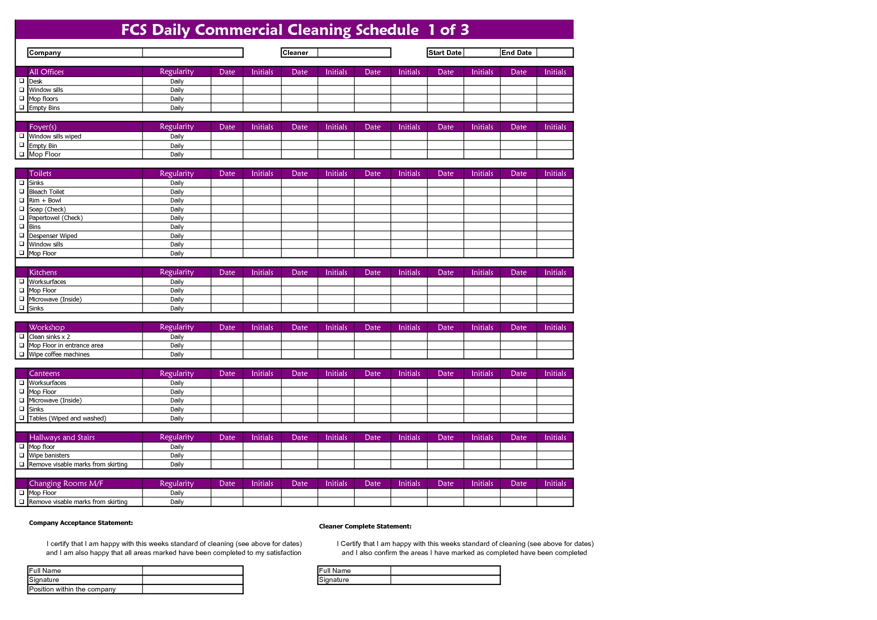 commercial cleaning company scheduling application