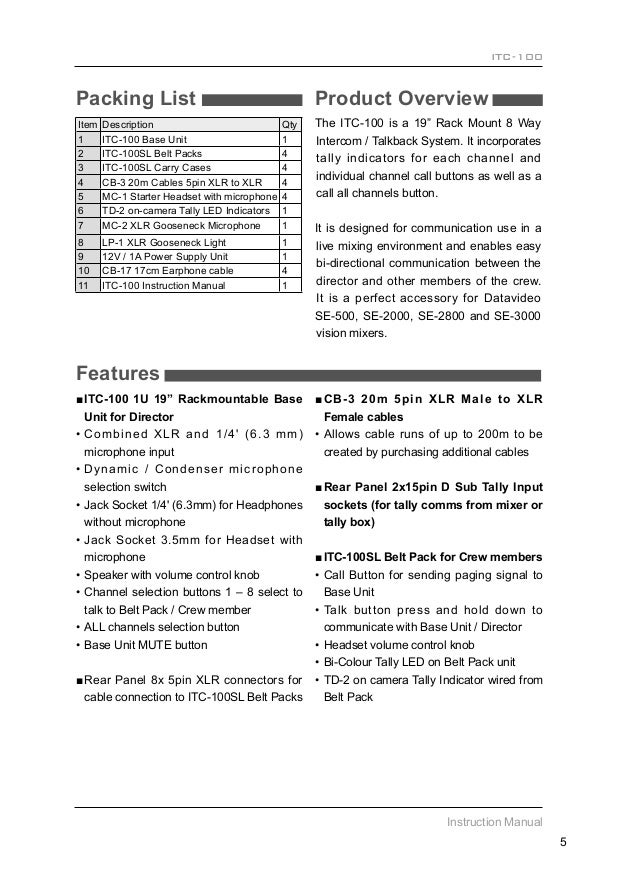 datavideo se2000 service manual