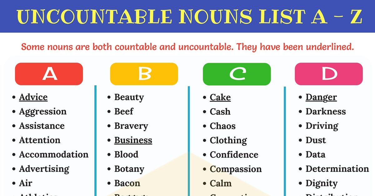 countable and uncountable nouns list pdf