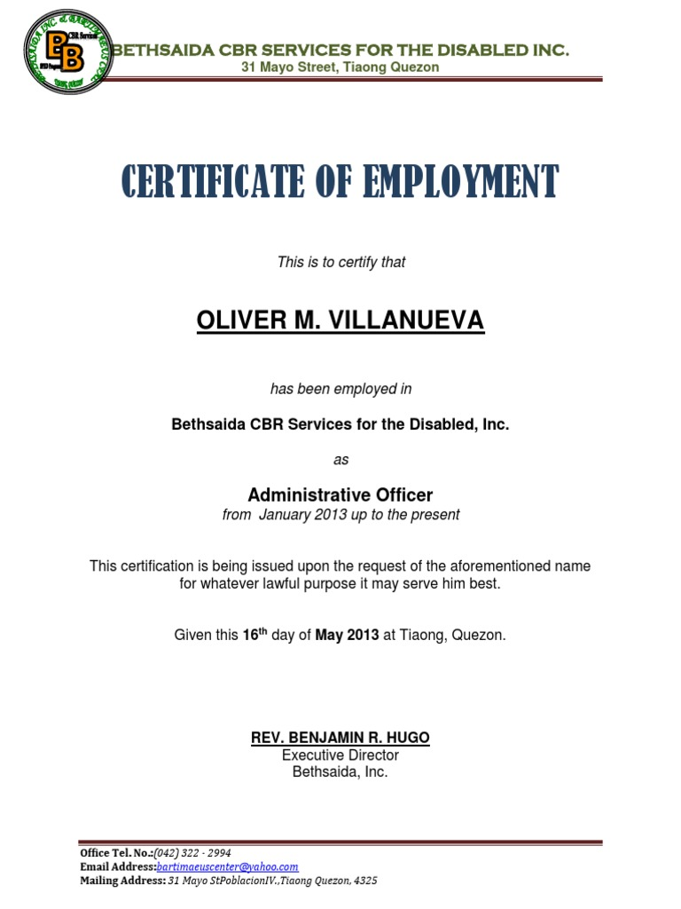 certificate of employment sample design